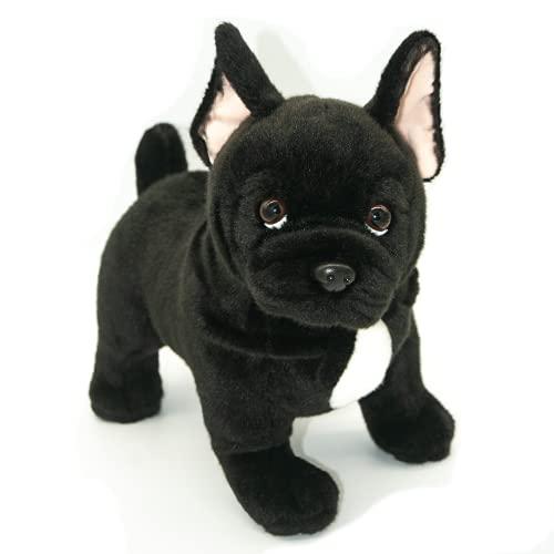 French Bulldog Stuffed Animal, Black Dog Stuffed Animals, 12.5 Inch Large Stuffed Dog, Realistic Dog for Child, Holiday, Christmas, Birthday, Gift, K.K Acrylic Fiber