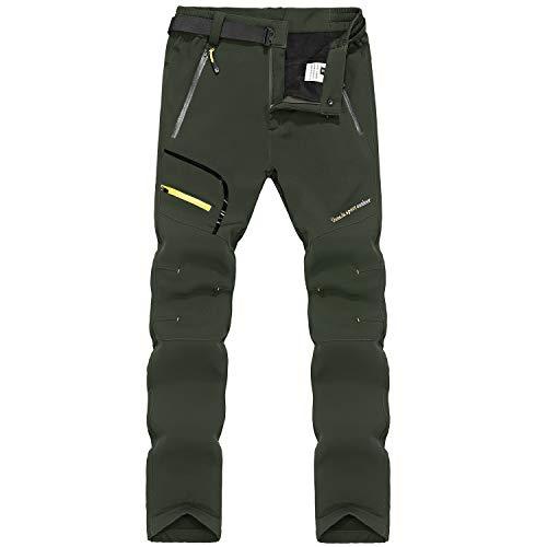 LY4U Hombres Senderismo Forrado con Forro Polar Suave Pantalones Al Aire Libre Resistente al Agua Transpirable Invierno Cálido Caminata Escalada Pantalones