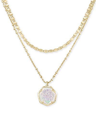 Kendra Scott Cynthia Multi Strand Necklace for Women, Fashion Jewelry, 14k Gold Plated, Iridescent Drusy