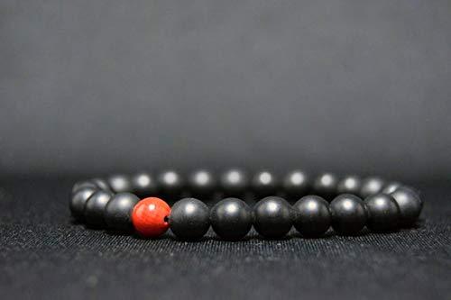 ónix negro mate natural con coral rojo 8 mm Forma redonda Pulsera elástica de 7 pulgadas con cuentas lisas para hombres / mujeres. Regalos para él / ella.