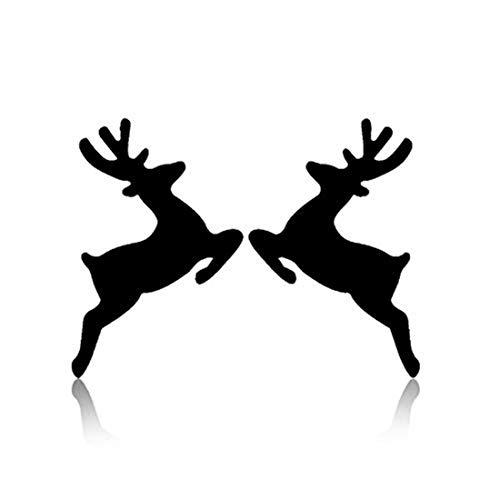 yichahu Christmas Jewelry Cut Elk Deer Earrings Black Stainless Steel Stud Earrings Reindeer Stud Earring