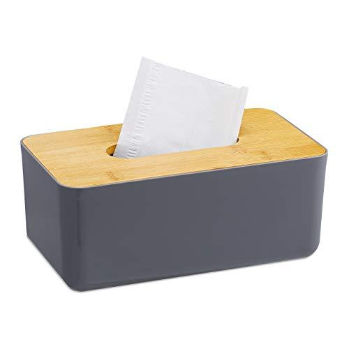 Relaxdays Taschentuchbox, nachfüllbar, Badezimmer, Tücherbox, Bambus-Deckel, Kunststoff, HxBxT: 10x23x13 cm, grau/Natur, 1 Stück