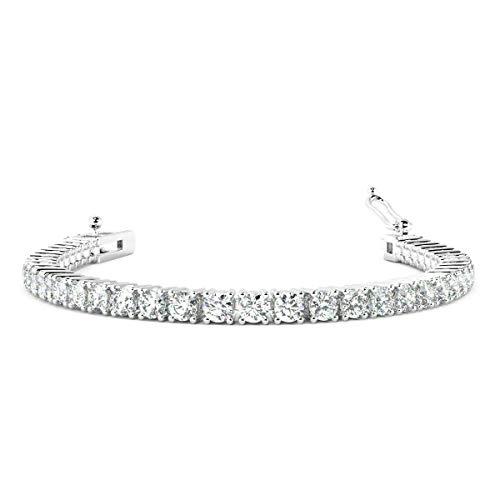 Buyfinediamonds.com - Bracciale da tennis con diamanti rotondi da 3,00 carati, con marchio 9 K, oro 18 carati, platino e Oro bianco, cod. BR00125.1