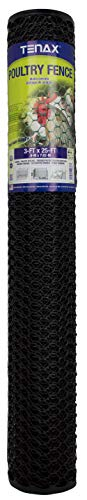 Tenax 72120546 Hex Poultry Fence, 3' x 25' Black