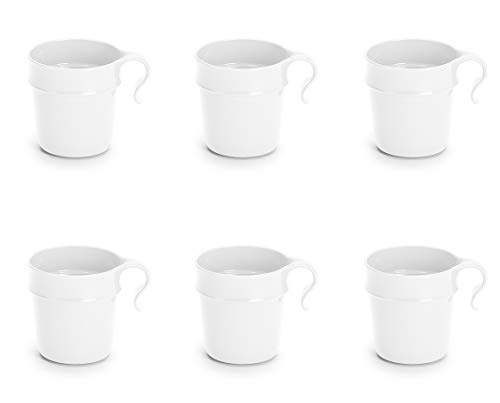 Nordiska Plast - 6 Kunststoffbecher mit Henkel 300 ml - Weiss – Becher - Kunststofftasse - Plastikbecher - Kaffeebecher - Kindertasse - Campingbecher Kunststoff Mehrweg - BPA-frei - Made in Sweden