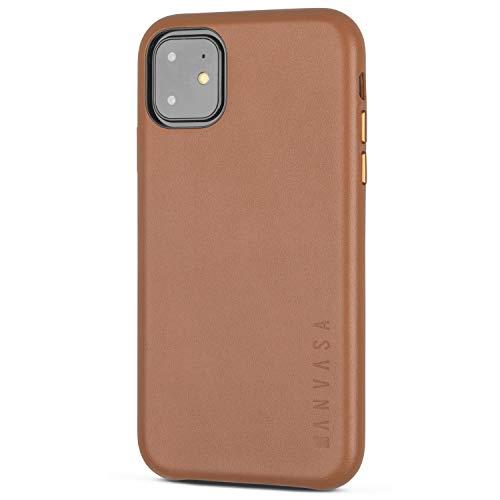 KANVASA Funda iPhone 11 Marrón - Carcasa Skin para Apple iPhone 11 - Estilosa Funda Hecha de Auténtica Piel de Cuero - Protección Óptima y Piel de Calidad - Ultrafina