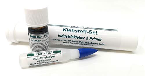 Ber-Fix® Klebstoff-Set 1 im Röhrchen zum kleben von Silikon Pe PP Teflon (PtfE) 5g Industriekleber dünnflüssig 5ml Primer
