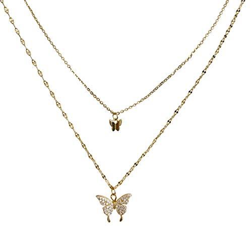 ZHIHUIYU Cadena de Mariposa Brillante de Plata de Ley 925 para joyería de Mujer con Delicado Collar de Cadena de clavícula de Doble Capa