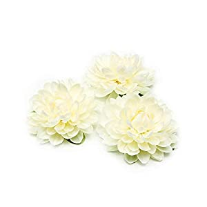 CX-5 1pcs New Silk Dahlia Artificial Flower for Wedding Party Decoration DIY Flower Wall Dress Brooch-Milky White