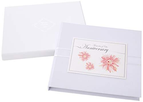 Witte katoenen kaarten 'herinneringen aan onze verjaardag' roze bloemen ontwerp, gastenboek (AG3)