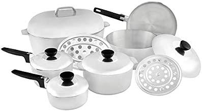 IMUSA USA IMU-89305 Heavy Duty 13-Piece Cast Aluminum Cajun Cookware Set, Silver