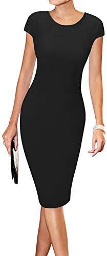 LunaJany Women s Short Sleeve Business Church Work Casual Sheath Midi Dress XL 4black product image
