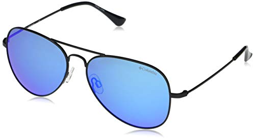 Columbia Norwester Aviator Sunglasses, Satin Black/Blue Polarized, 59 mm