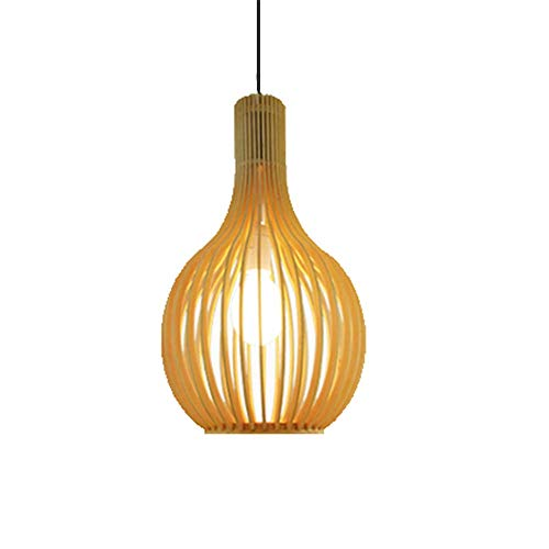 HLY Lámpara de sala de estar moderna, Pantalla de lámpara colgante de restaurante Sheen Interior, Base E27 Lámpara colgante de montaje semi empotrado Cableado de bambú y ratán [Manual] Araña del nort