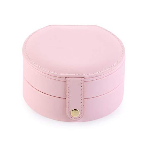 Joyero de cuero, organizador de almacenamiento para collares, pulseras, pendientes, estuche de regalo, portátil, para viajes, joyas, adornos, organizador de joyas (color rosa).
