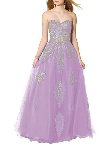 SongSurpriseMall Ballkleider Brautkleider Damen Lang Hochzeitskleider Abendkleid Quinceanera Kleider Tüll Spitze 2019 Lavendel EU54