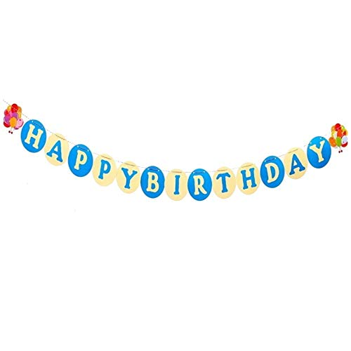 DIWULI, Happy Birthday slinger om op te hangen, spreukenband, wimpel-ketting, verjaardagsslinger, lange verjaardagsbanner voor verjaardagsfeest, tuinfeest, motto party, decoratie Banner XX-Large Cr�me-blauw