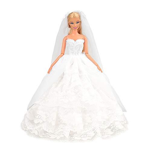 Festfun Robe de Mariage Robe Élégante Vêtement Robe Mariée Blanc pour Poupée Fille de 11,5 Pouce