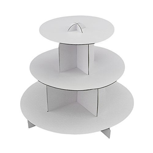 Tytroy 3 Tier White Round Cardboard Cup Cake Holder Stand Dessert Tower Pastry Serving Platter