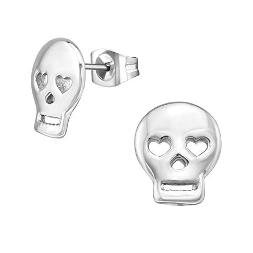 Laimons Pendientes para mujer con diseño de calavera, 12 mm, de acero inoxidable brillante