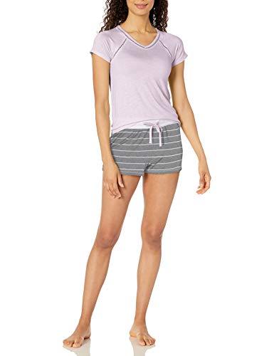 Amazon Brand - Mae Women's V-Neck W/ Trim & Short Set, Heather Grey Stripe/Lavender, Large