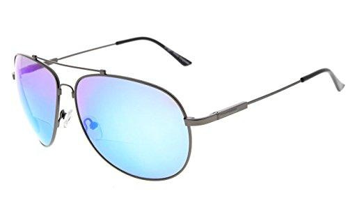Eyekepper grote bifocale zonnebril in fraaie stijl zonnelezer met flexibele herinnering brug en arm +2.00 Gunmetal lijst blauw spiegel