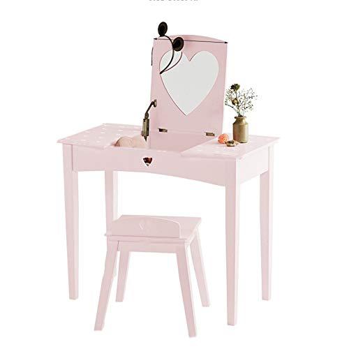 YRC Set de Almacenamiento y tocador de alquileres de niños, Mini Escritorio (Rosa) con Espejo de Silla, Adecuado para Dormitorio, Sala de Estar, habitación para niños, Escuela