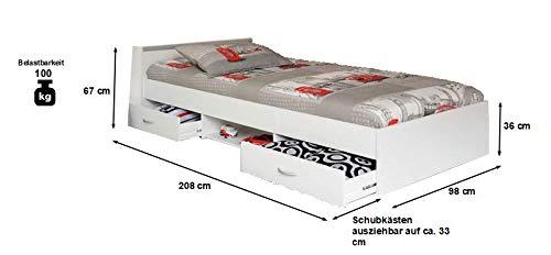 Funktionsbett Alawis 90 * 200 cm weiß inkl 2 Roll-Bettkästen Jugend Gäste Kinderzimmer Einzel Liege