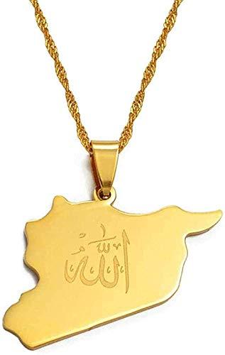 Collar Mapa del país Colgante de Siria Witk Allah Nombre Color dorado Tarjetas sirias Collar Joyería Regalos Collar