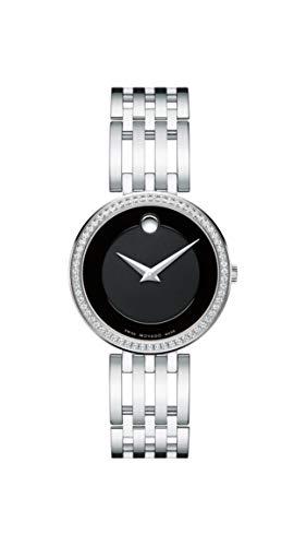 Movado Women's Esperanza Stainless Steel Watch with Diamond Accent Bezel, Silver/Black (607052)