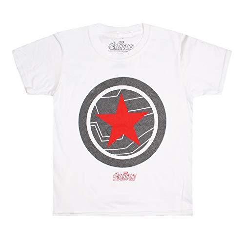 Marvel The Avengers - Winter Soldier T-Shirt, Bianco (Bianco Bianco), 7-8 Anni Bambino