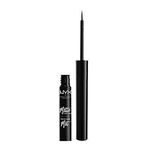 NYX Professional Matte Liquid Liner, Eyeliner mit feinem Pinselapplikator, Präzise Anwendung, Vegane Formel, Schwarz