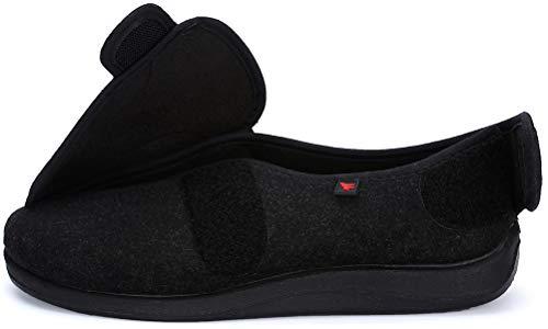 Jinbeile X-Weit Zapatos ajustables con cierre de velcro para mujer y hombre para diabéticos, talla grande, color Negro, talla 39 EU X-Weit