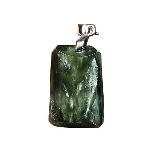 Natural verde serafinita cristal colgante serafinita piedra de cristal para las mujeres hombres 34x17x9mm perlas plata gota de agua joyería
