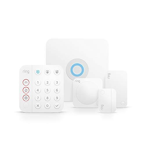 Kit de 5 piezas Ring Alarm de Amazon (2.ª generación) | Sistema de seguridad para el hogar compatible con Alexa y con vigilancia asistida opcional, sin compromisos a largo plazo
