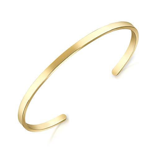 Lolalet (1 Stück) Armreif Armband Paare 18K vergoldet Edelstahl Oval Verstellbar Offen Maschette Armband, Glatt Poliert Liebesschmuck Freund Schmuck Bracelet für Herren Damen -Gold