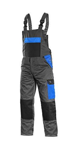 CANIS CXS Phoenix Cronos Arbeitslatzhose Professionelle Latzhose Herren Schutz für Monteur Gärtner Damen Hose für Mechaniker mit Klettverschlusstaschen Cargotaschen; grau mit blau (52)
