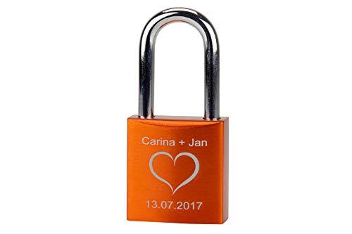 Liebesschloss mit Gravur, individuelle Wunschgravur auf Schloss inklusive 2 Schlüssel orange