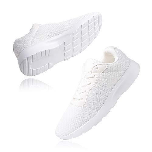 Zapatillas de Running Hombre Mujer Deportivas Casual Gimnasio Zapatos Ligero Transpirable Sneakers Blanco 41 EU