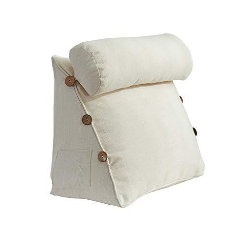 J-Kissen Das perfekte Sofakissen | Lesekissen | Keilkissen für Bett und Couch | Rückenstütze | Lendenkissen, herausnehmbar, 42X45X22CM (Farbe : Weiß)