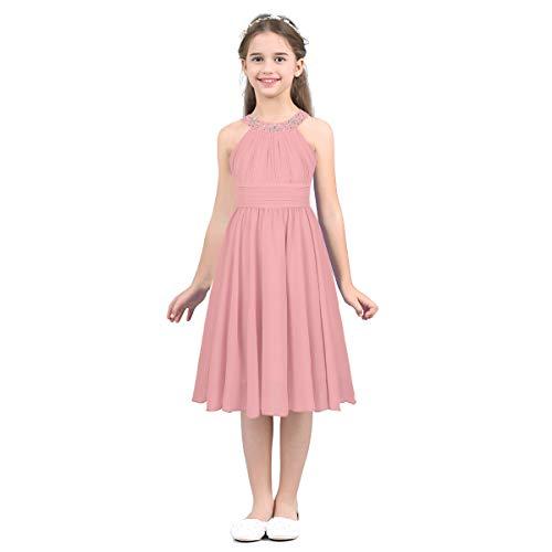 IEFIEL Vestido Corto De Comunión para Niña (4-14 Años) Infantil Vestido De Fiesta Boda Dama de Honor Sin Mangas Cuello Redondo
