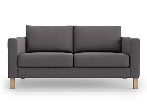 TLY Thick Cotton Snug Fit Karlstad 2 Seat Sofa Cover Love Seat Slipcover for The IKEA Karlstad Cover Replacement