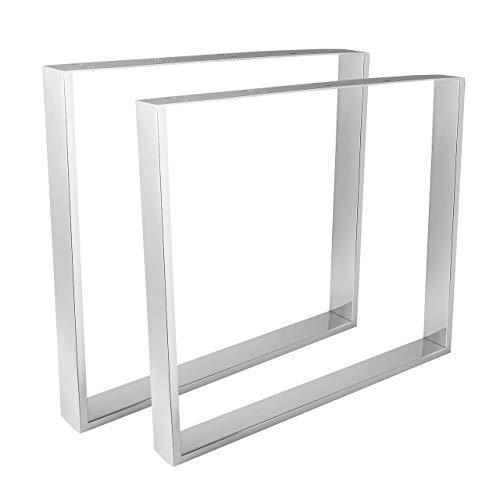 HOLZWERK24 Tischbeine Chrom glänzend/TUG 408 Stahl - Tischgestell Tischkufen Tischfüße Tischbein Tischuntergestell Tischkufe Kufengestell