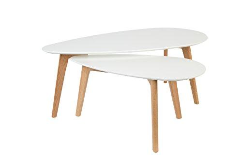 Bijzettafel salontafel Drop set van 2 in druppelvorm