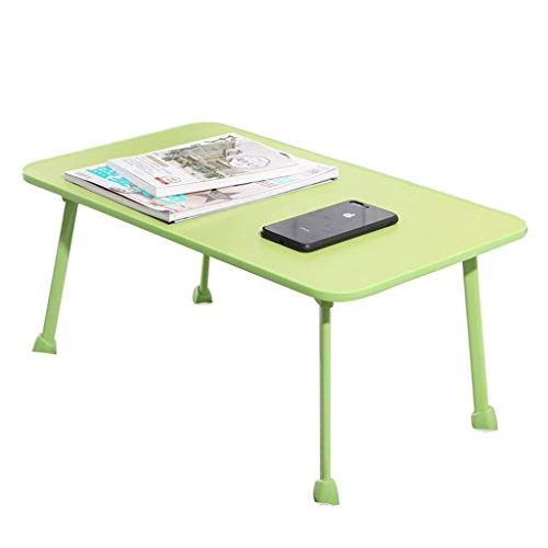 SDFDS Folding computer desk,Folding small table on the bed, for dormitory desk lazy dormitory computer desk Foldable notebook desk 60x40x28cm 921 (Color : Green)