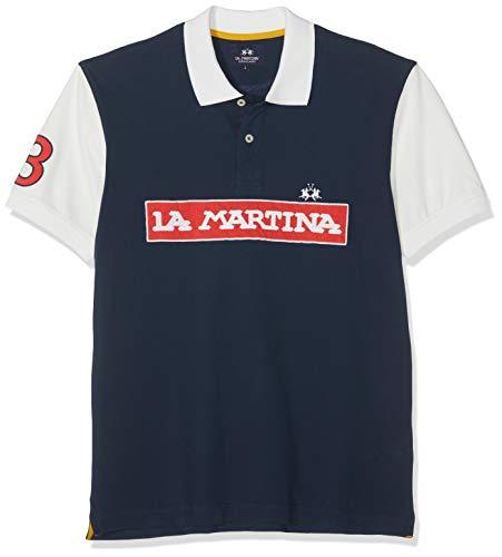 La Martina Herren Man Polo S/s Piquet Stretch Poloshirt, Blau (Navy 07017), Medium