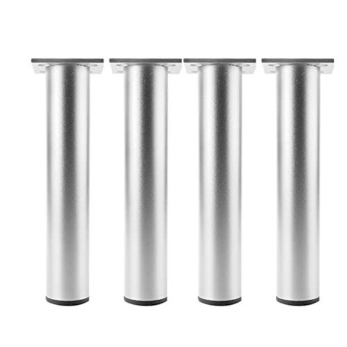 4 Piezas Patas de Aluminio para Muebles, Patas de sofá Rectas de Metal, Patas cuadradas reemplazables, Antideslizante, DIY Patas de muebles Pies de sofá Mesa Armario Patas (Color:silver,Size:30cm)