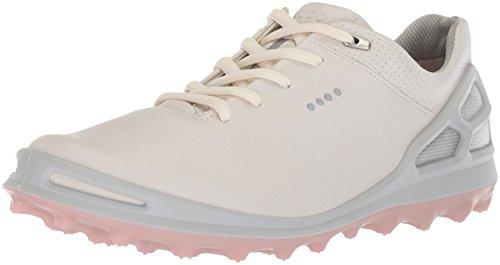 ECCO Cage Pro Gore-Tex Chaussures de Golf pour Femme - - Blanc/argenté/Rose, 40.5/41 EU