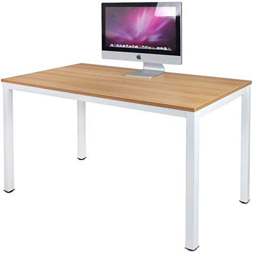 Need Schreibtisch Computertisch 120x60cm PC Tisch Bürotisch Arbeitstisch Esstisch für Home Office, Teak Oak & Weiß AC3BW