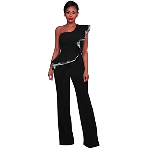 FONMA Fashion Women Summer Striped Splicing Casual Sleeveless Broad-Legged Jumpsuit Black
